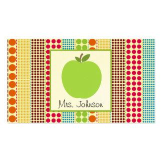 Professor multicolorido verde das bolinhas de cartão de visita