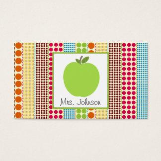 Professor multicolorido verde das bolinhas de cartão de visitas
