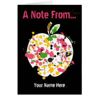Professor Notecard - pinte o Splatter Apple Cartão