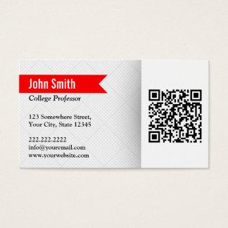 Professor Pesquisador Vermelho Rotulagem QR Código Cartão De Visitas