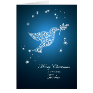 Professor, pomba do cartão de Natal da paz