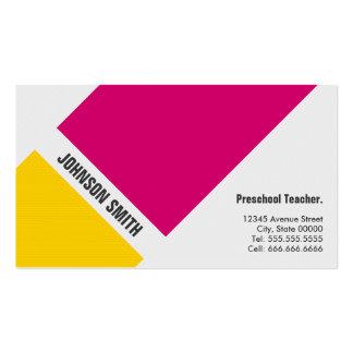 Professor pré-escolar - amarelo cor-de-rosa simple cartoes de visitas