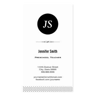Professor pré-escolar - branco preto limpo cartões de visita