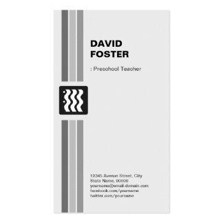 Professor pré-escolar - branco preto moderno cartão de visita