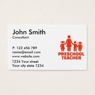 Professor pré-escolar cartão de visitas