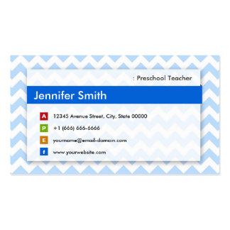 Professor pré-escolar - Chevron azul moderno Cartão De Visita