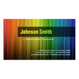 Professor pré-escolar - cores à moda do arco-íris cartão de visita
