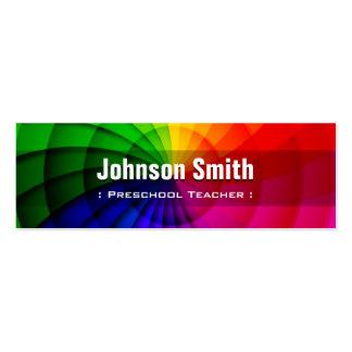 Professor pré-escolar - cores radiais do arco-íris modelo de cartões de visita