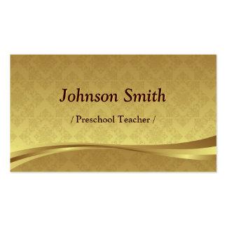 Professor pré-escolar - damasco elegante do ouro cartão de visita