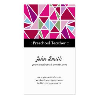Professor pré-escolar - geometria abstrata cartão de visita