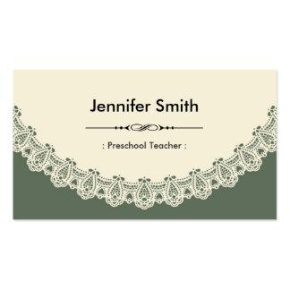 Professor pré-escolar - laço chique retro cartoes de visitas