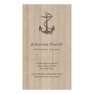 Professor pré-escolar - madeira náutica da âncora cartão de visita
