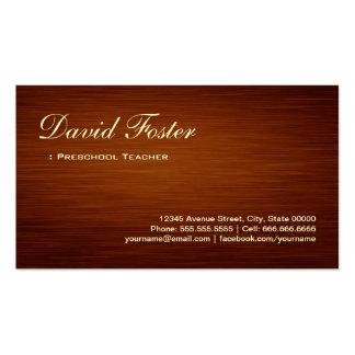Professor pré-escolar - olhar de madeira da grão cartão de visita