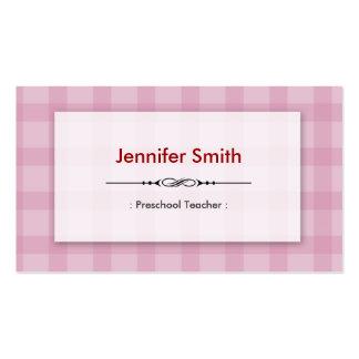Professor pré-escolar - quadrados cor-de-rosa cartão de visita