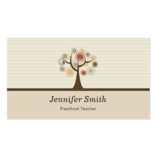 Professor pré-escolar - tema natural elegante cartão de visita
