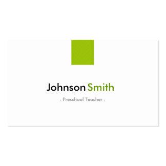 Professor pré-escolar - verde simples da hortelã cartão de visita