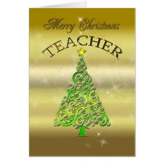 Professor, um cartão de Natal do efeito do ouro