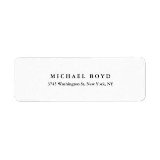 Profissional clássico preto & branco criativo etiqueta endereço de retorno