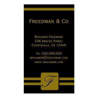 Profissional do monograma do ouro preto e amarelo cartão de visita