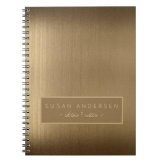 Profissional metálico de cobre escovado elegante cadernos espiral