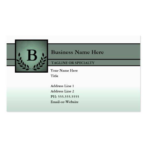 profissional monogrammed (verde azeitona) cartoes de visita