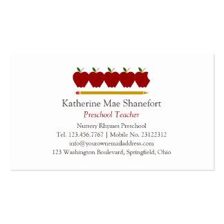 Profissional pré-escolar do professor cartão de visita