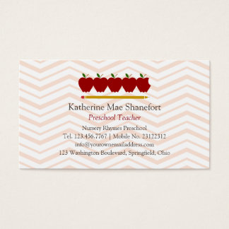 Profissional pré-escolar do professor cartão de visitas