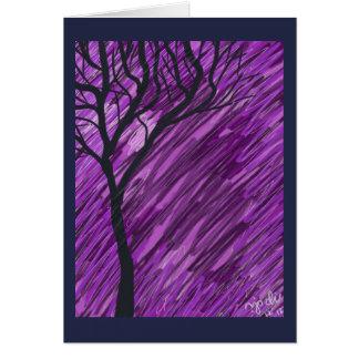 Cartão Profundamente - cartão roxo da árvore do outono