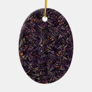 Profundamente em um arvoredo ornamento de cerâmica oval