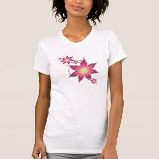 Profundamente - flores cor-de-rosa e malva do camisetas