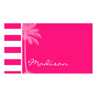 Profundamente - listras horizontais cor-de-rosa; cartão de visita