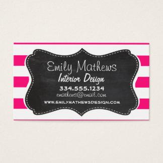 Profundamente - listras horizontais cor-de-rosa; cartão de visitas