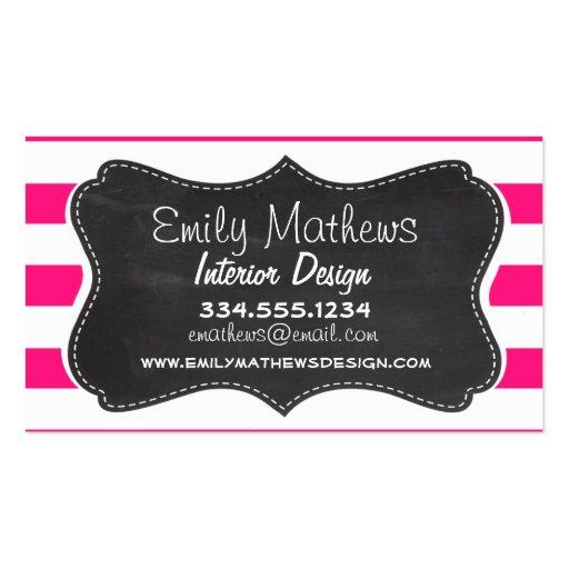 Profundamente - listras horizontais cor-de-rosa; O Cartões De Visitas