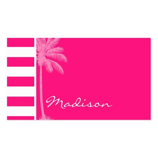 Profundamente - listras horizontais cor-de-rosa; P Modelos Cartão De Visita