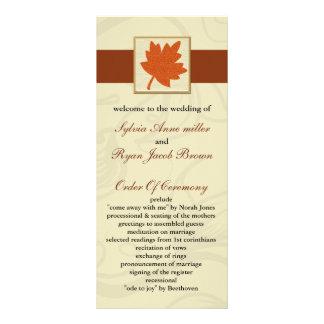 programa alaranjado do casamento outono panfleto