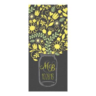 programa amarelo cinzento floral do casamento do 10.16 x 22.86cm panfleto
