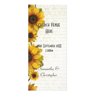 Programa amarelo elegante do casamento da igreja 10.16 x 22.86cm panfleto