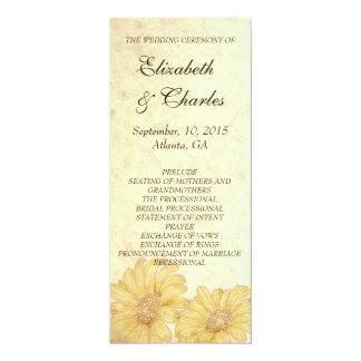 Programa antigo do casamento da reprodução dos convite 10.16 x 23.49cm