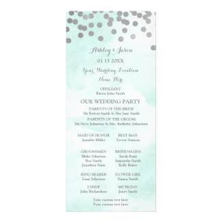 Programa azul do casamento dos confetes da prata panfleto