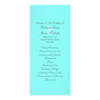 programa azul tiffany do casamento de turquesa 10.16 x 22.86cm panfleto