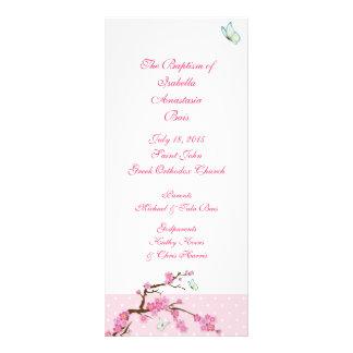 Programa baptismal 1/5 da flor de cerejeira planfeto informativo colorido