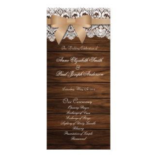 Programa bege do casamento do arco da madeira e do 10.16 x 22.86cm panfleto