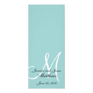 Programa branco azul da igreja do casamento do convite 10.16 x 23.49cm