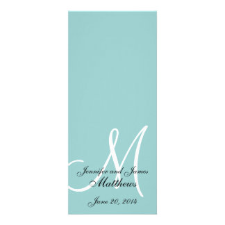 Programa branco azul da igreja do casamento do mon convites personalizado
