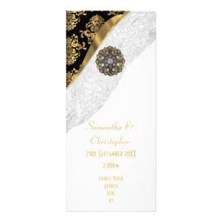 Programa branco do casamento da igreja do damasco 10.16 x 22.86cm panfleto