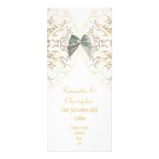 Programa branco luxuoso do casamento da igreja do 10.16 x 22.86cm panfleto