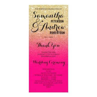 Programa chique do casamento do rosa quente do 10.16 x 22.86cm panfleto