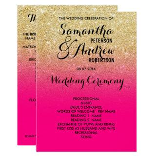 Programa chique do casamento do rosa quente do convite 12.7 x 17.78cm