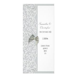 Programa cinzento e branco do casamento da igreja 10.16 x 22.86cm panfleto