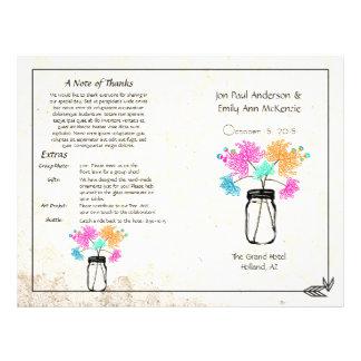 Programa colorido do casamento do frasco de pedrei modelos de panfleto